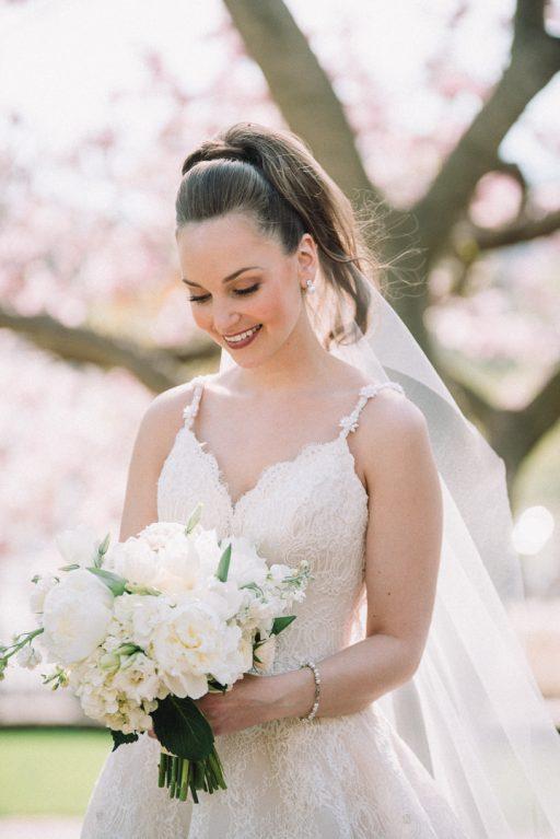 white hydrangea, peonies, tulips, stock, majolica, spring wedding, classic, bride