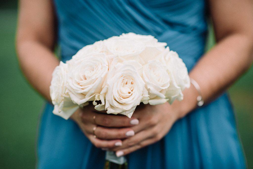 white hydrangea, peonies, tulips, stock, majolica, spring wedding, classic, bridesmaid rose bouquet