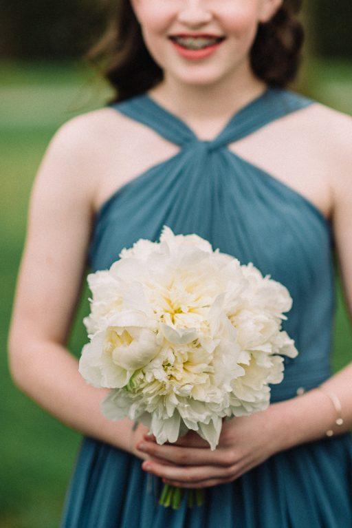 white hydrangea, peonies, tulips, stock, majolica, spring wedding, classic, bridesmaid peony bouquet
