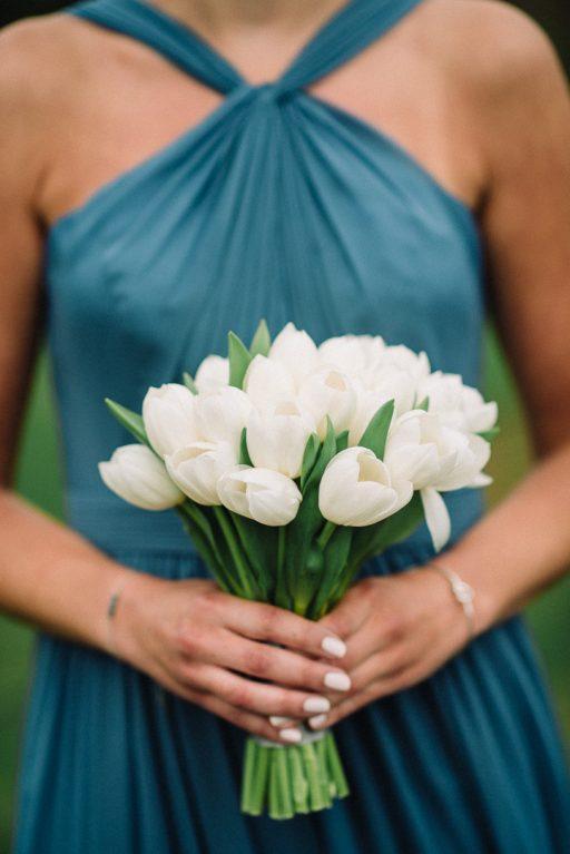 white hydrangea, peonies, tulips, stock, majolica, spring wedding, classic, bridesmaid tulip bouquet
