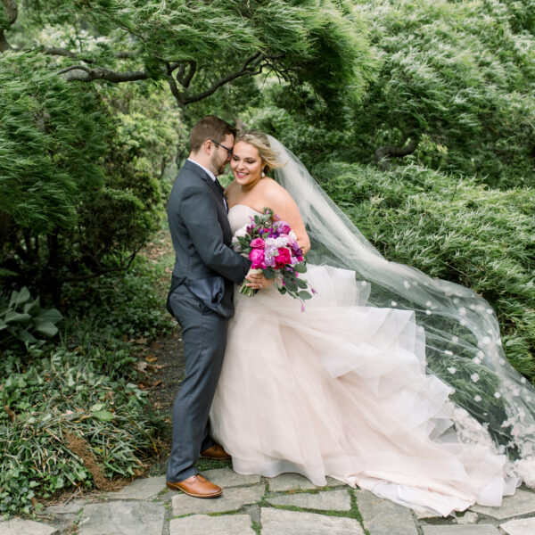 Pink, purple, white, greenery, vibrant wedding, peonies, roses, stock, eucalyptus, organic bouquets bride and groom