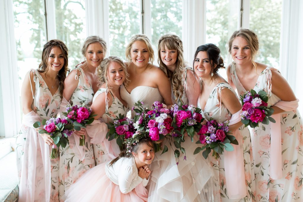 Pink, purple, white, greenery, vibrant wedding, peonies, roses, stock, eucalyptus, organic bouquets bridal party