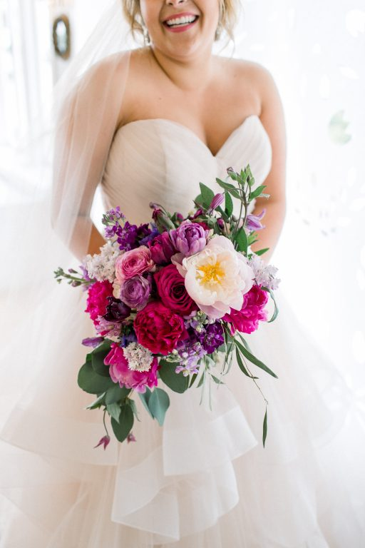 Pink, purple, white, greenery, vibrant wedding, peonies, roses, stock, eucalyptus, organic bouquets bridal