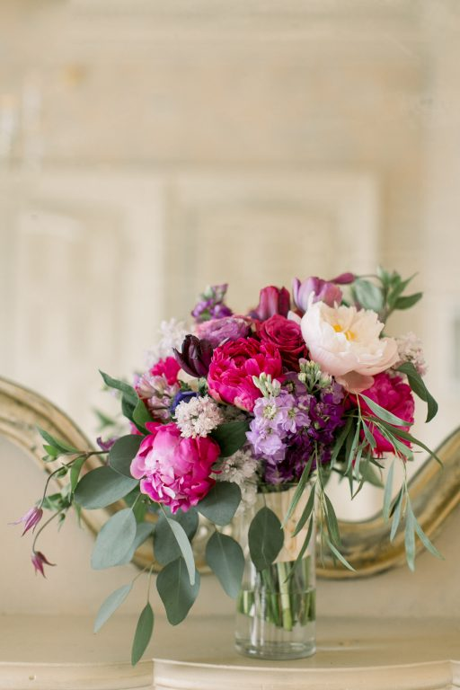 Pink, purple, white, greenery, vibrant wedding, peonies, roses, stock, eucalyptus, organic bridal bouquet