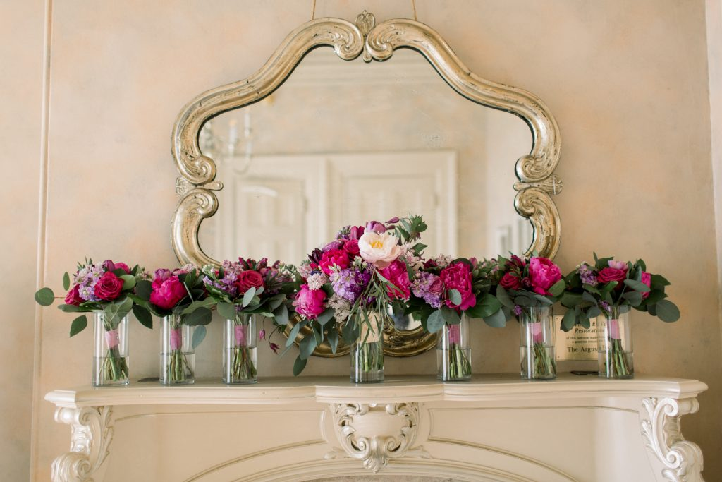 Pink, purple, white, greenery, vibrant wedding, peonies, roses, stock, eucalyptus, organic bridal party bouquets