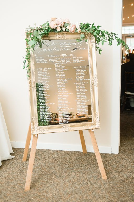 Summer wedding, coral, blush, white, greenery, roses, succulants, eucalyptus, escort sign floral swag
