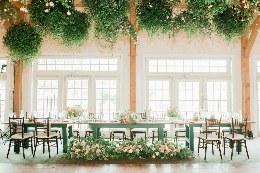 Summer wedding, coral, blush, white, greenery, roses, succulants, eucalyptus, cloches, centerpiece kings table