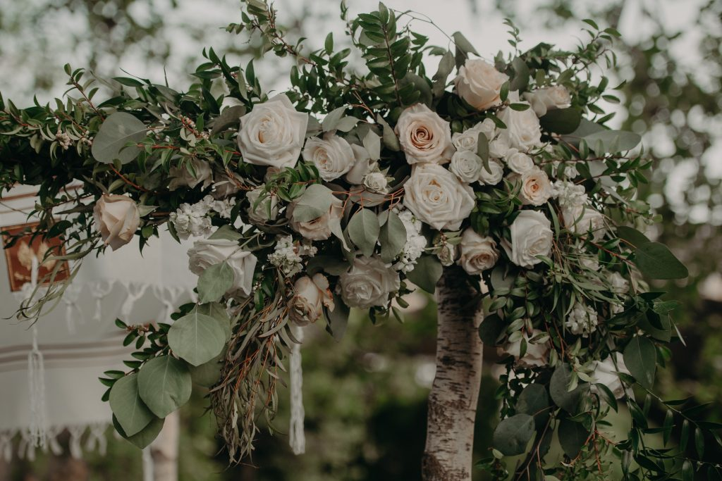 blush pink, greenery, white, classic, clean, outdoor wedding, roses, tulips, peonies, ceremony florals, chuppah