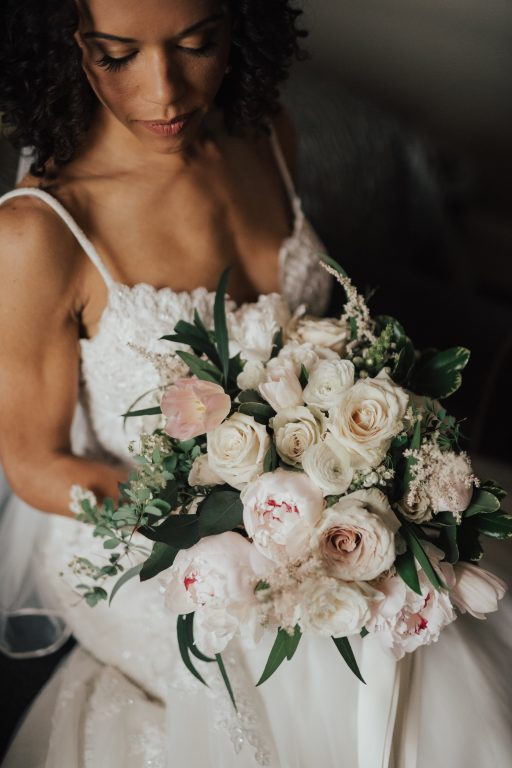 blush pink, greenery, white, classic, clean, outdoor wedding, roses, tulips, peonies, bridal bouquet