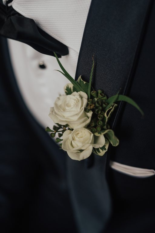 blush pink, greenery, white, classic, clean, outdoor wedding, roses, tulips, peonies, groom boutonniere
