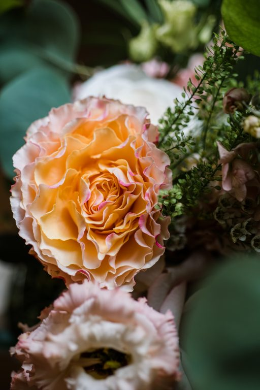 whimsical organic farm wedding, coral, peach, green, blush, roses, tulips, detail florals