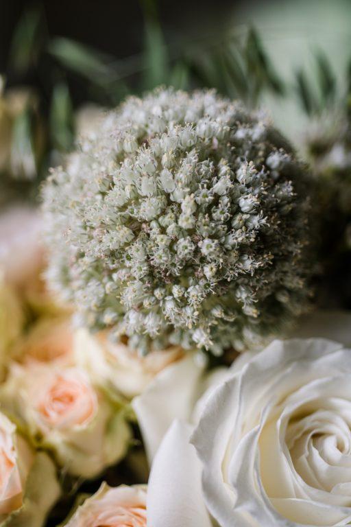 whimsical organic farm wedding, coral, peach, green, blush, roses, tulips, allium detail florals