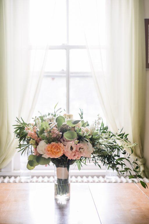 whimsical organic farm wedding, coral, peach, green, blush, roses, tulips, allium, cascade bridal bouquet