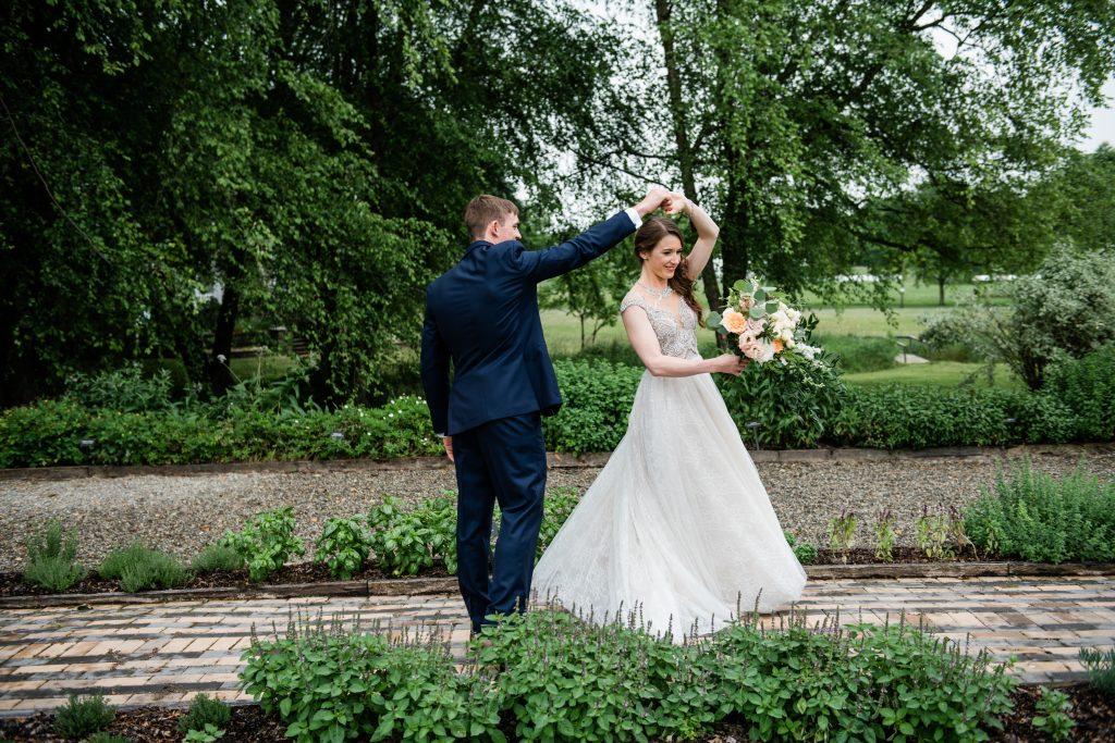 whimsical organic farm wedding, coral, peach, green, blush, roses, tulips, allium, cascade bridal bouquet, first look