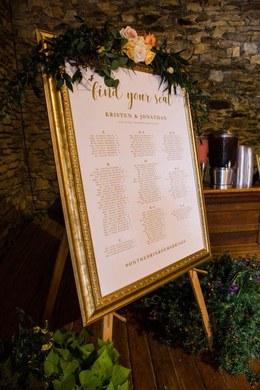 whimsical organic farm wedding, coral, peach, green, blush, roses, tulips, allium, cascade bridal bouquet, escort sign, floral swag