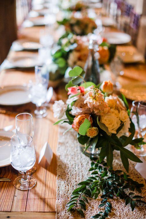 whimsical organic farm wedding, coral, peach, green, blush, roses, tulips, allium, centerpiece