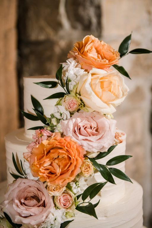 whimsical organic farm wedding, coral, peach, green, blush, roses, tulips, allium, cascade florals, cake decor