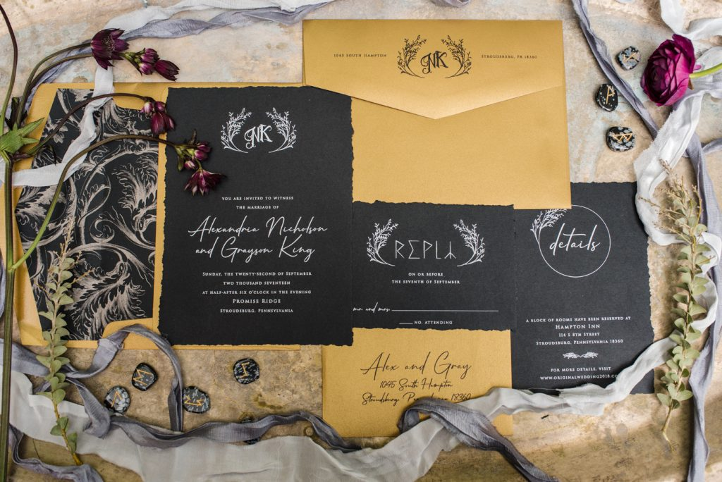 The Originals inspired styled shoot, elopement, microwedding, mysterious, moody, dark color palette, roses, greenery, organic, wild, fall, pinks, purples, yellows, invitations, black, details.
