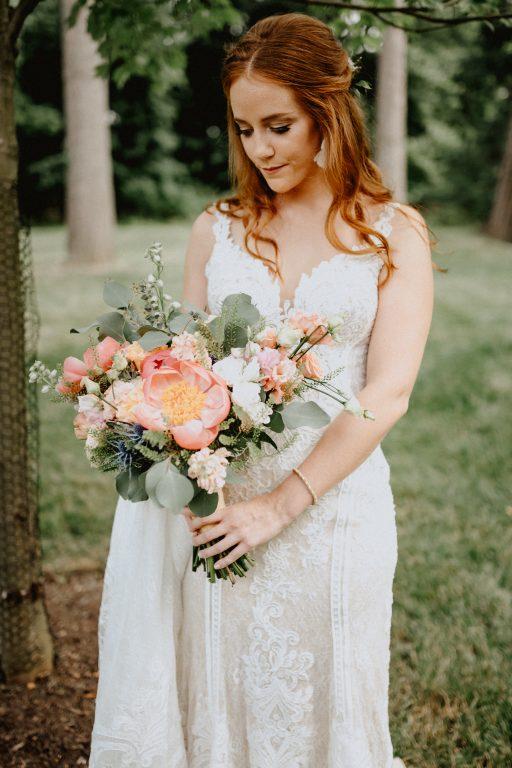 Outdoorsy, boho, wild, coral, dusty blue, peach, greenery, peonies, thistle, eucalyptus, wedding, bridal bouquet