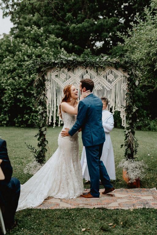 Outdoorsy, boho, wild, coral, dusty blue, peach, greenery, peonies, thistle, eucalyptus, wedding, ceremony