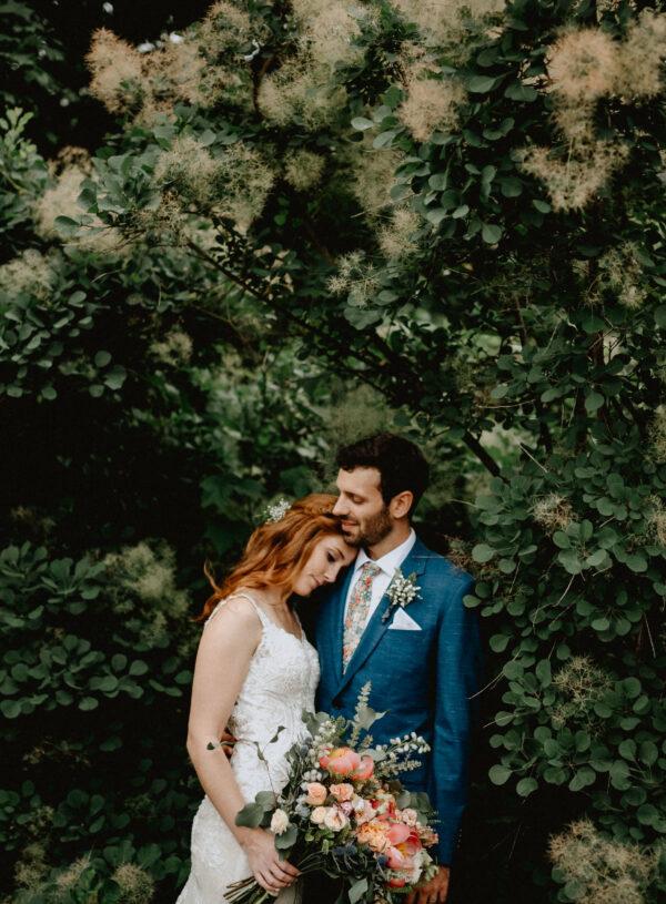 Outdoorsy, boho, wild, coral, dusty blue, peach, greenery, peonies, thistle, eucalyptus, wedding, bride and groom
