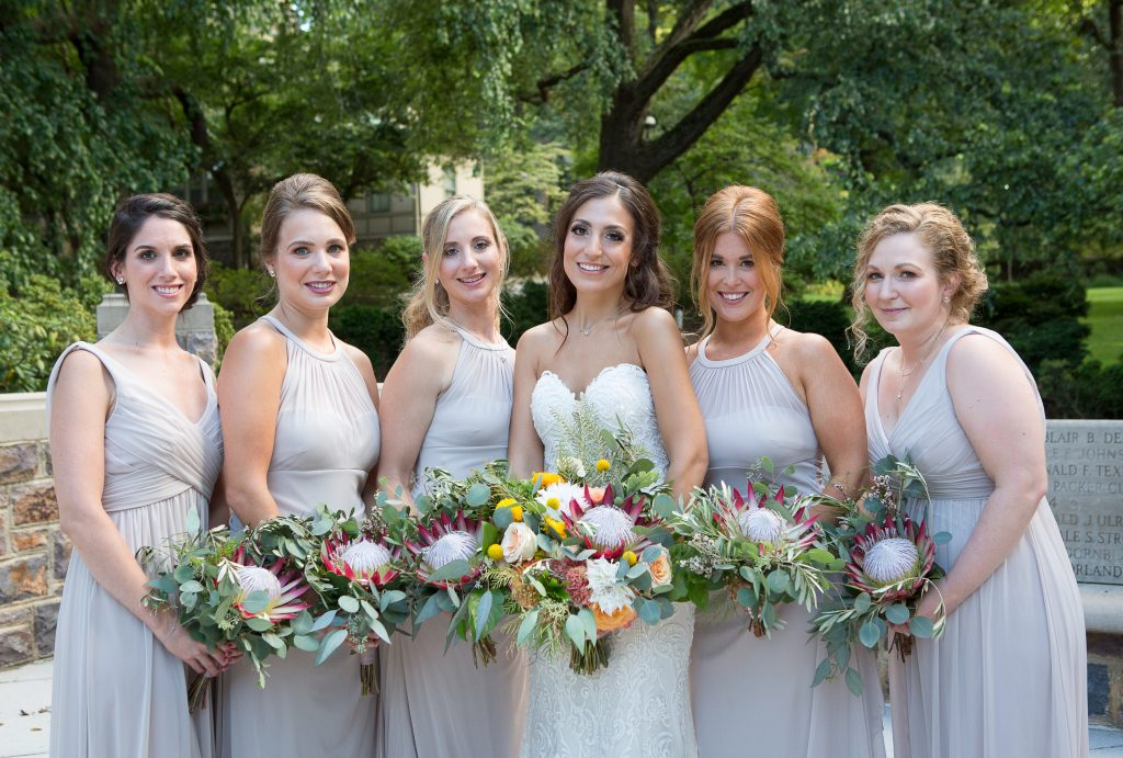Fall, wedding, secret garden, vintage, viney, blush, peach, muted orange, roses, spray roses, king protea, greenery, birch, dahlias, bridesmaid and bride.