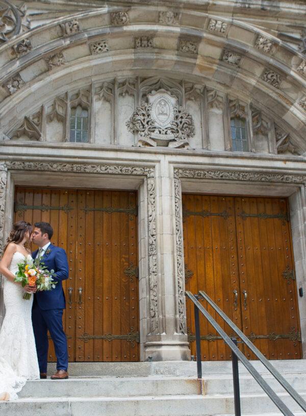 Fall, wedding, secret garden, vintage, viney, blush, peach, muted orange, roses, spray roses, king protea, greenery, birch, dahlias, bride and groom.