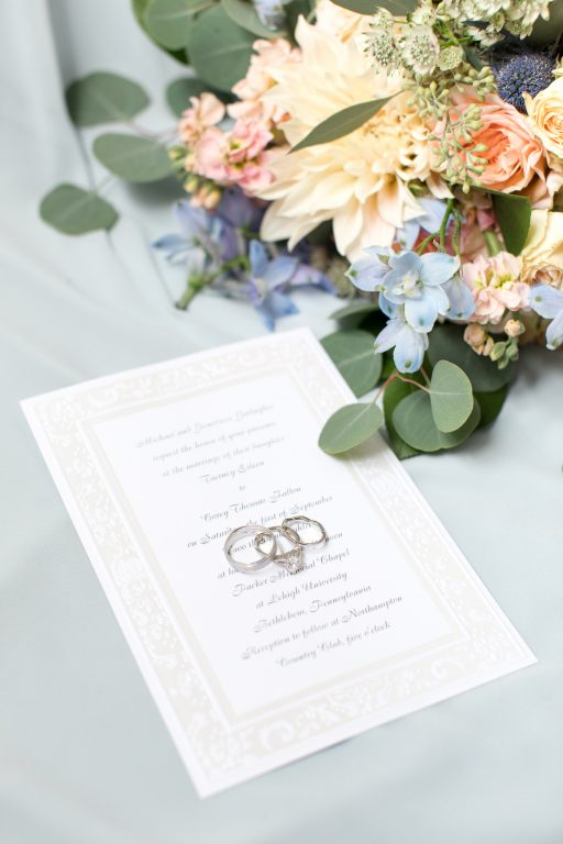 Subtle fall wedding, classic, elegant, peach, blues, hint of orange, blue thistle, roses, eucalyptus, delphinium, details.