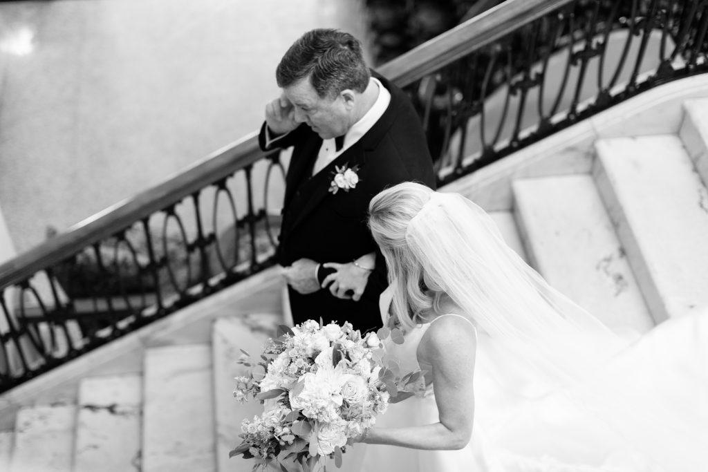 Subtle fall wedding, classic, elegant, peach, blues, hint of orange, blue thistle, roses, eucalyptus, delphinium, bride and father.