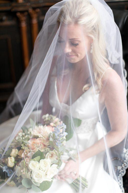 Subtle fall wedding, classic, elegant, peach, blues, hint of orange, blue thistle, roses, eucalyptus, delphinium, bride.