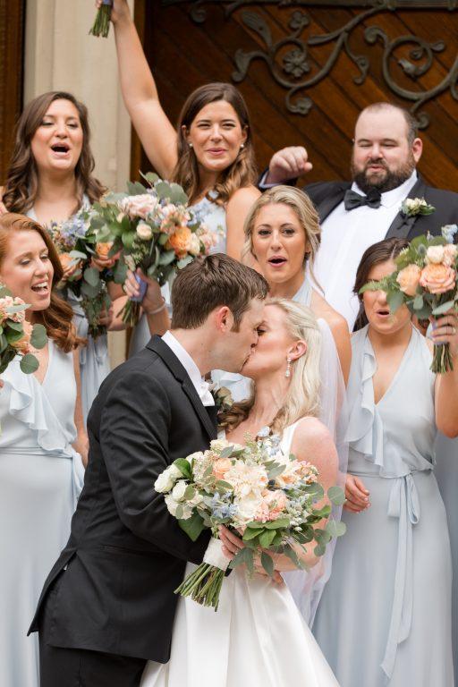 Subtle fall wedding, classic, elegant, peach, blues, hint of orange, blue thistle, roses, eucalyptus, delphinium, bridal party.