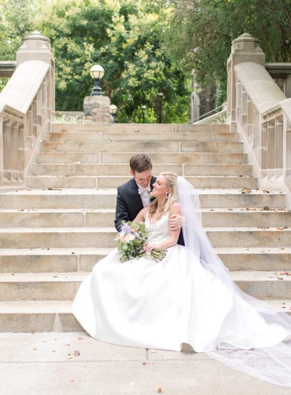 Subtle fall wedding, classic, elegant, peach, blues, hint of orange, blue thistle, roses, eucalyptus, delphinium, bride and groom.