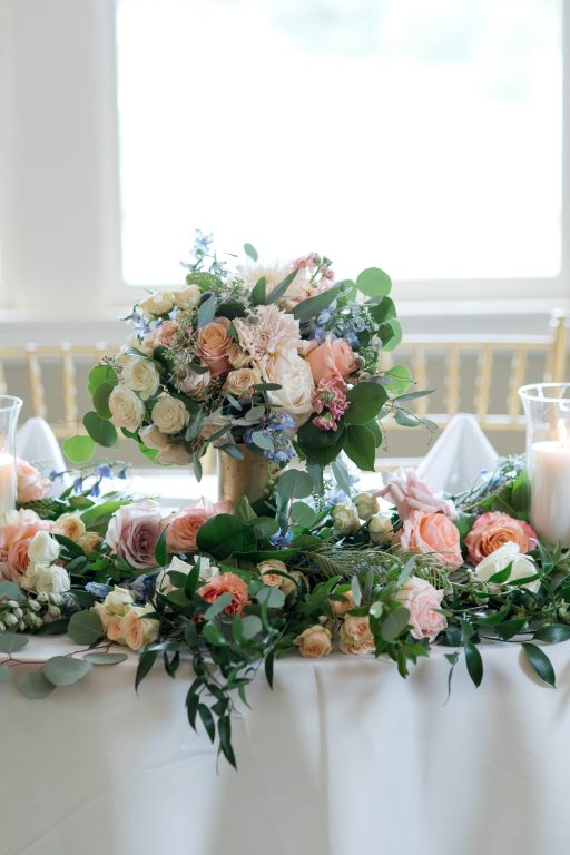Subtle fall wedding, classic, elegant, peach, blues, hint of orange, blue thistle, roses, eucalyptus, delphinium, bridal bouquet, sweetheat table.