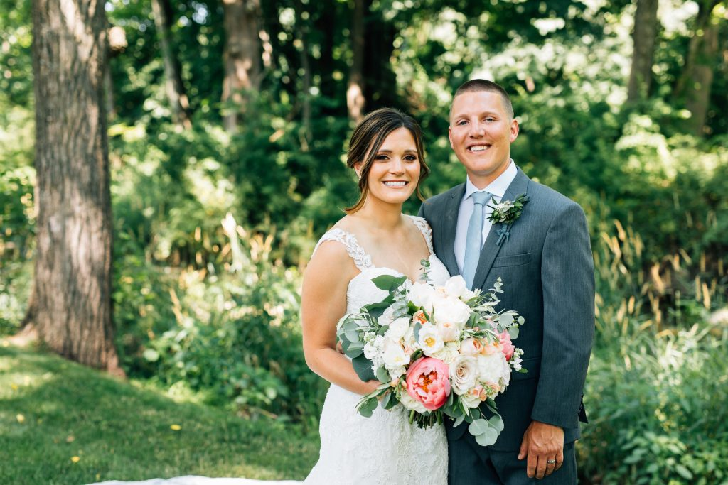 Summer wedding, natural, greenery, light, fresh, peonies, juliet roses, cream, pink, blush, bride and groom.