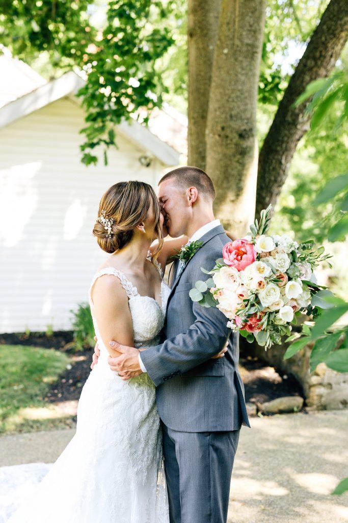 Summer wedding, natural, greenery, light, fresh, peonies, juliet roses, cream, pink, blush, bride and groom.