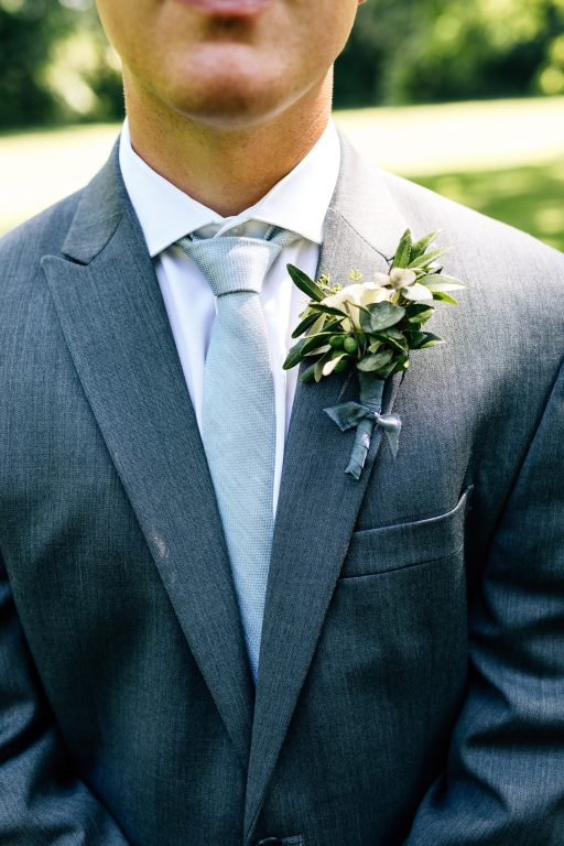 Summer wedding, natural, greenery, light, fresh, peonies, juliet roses, cream, pink, blush, groom, boutonniere.