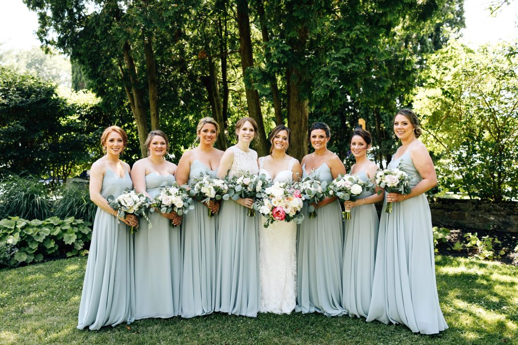 Summer wedding, natural, greenery, light, fresh, peonies, juliet roses, cream, pink, blush, groom, bride and bridesmaid, bouquets, dusty blue dresses.