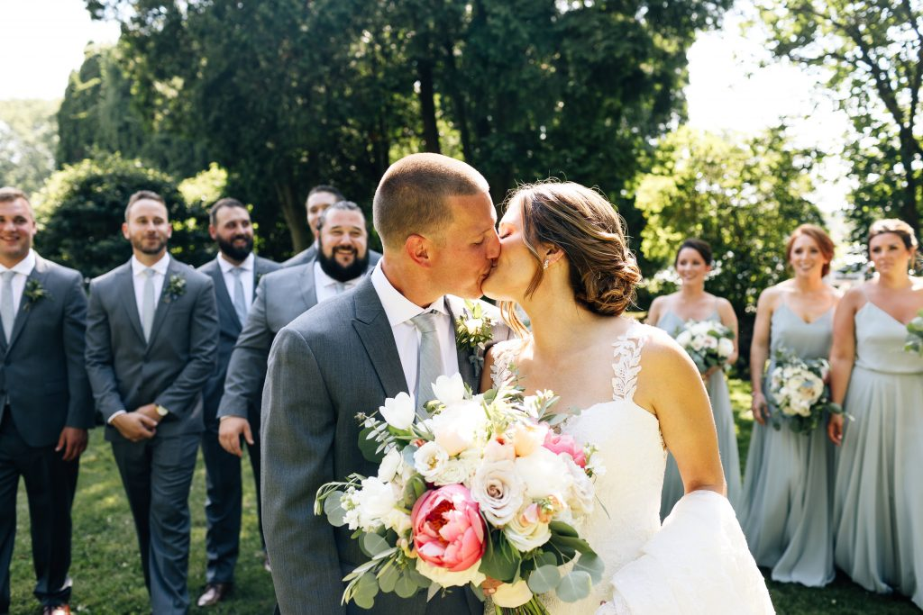Summer wedding, natural, greenery, light, fresh, peonies, juliet roses, cream, pink, blush, groom, bride and groom, bridal party.