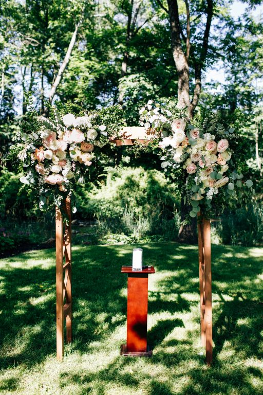Summer wedding, natural, greenery, light, fresh, peonies, juliet roses, cream, pink, blush, ceremony, arbor florals, corner pieces.