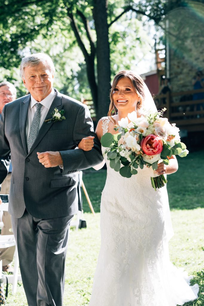 Summer wedding, natural, greenery, light, fresh, peonies, juliet roses, cream, pink, blush, ceremony, father and bride, walking down the aisle.