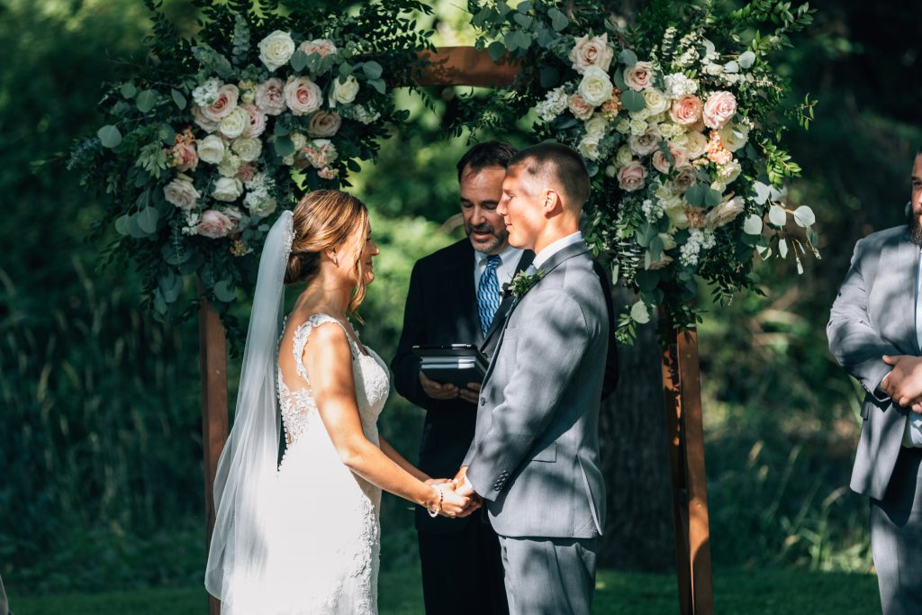 Summer wedding, natural, greenery, light, fresh, peonies, juliet roses, cream, pink, blush, ceremony, bride and groom.