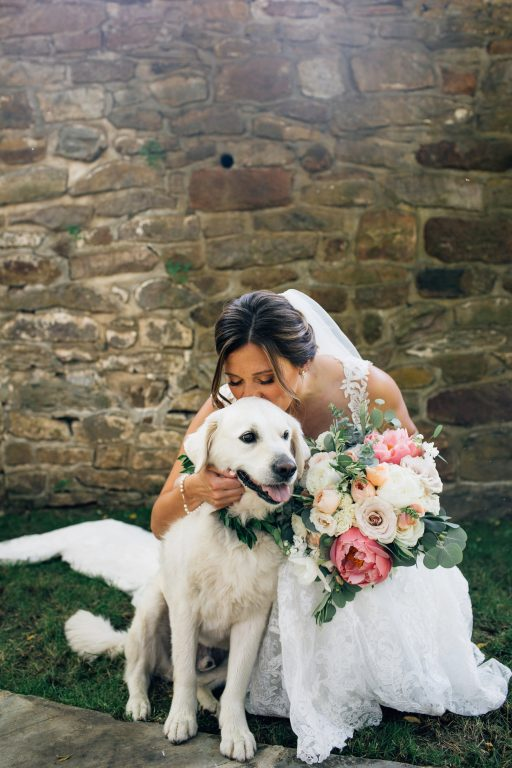 Summer wedding, natural, greenery, light, fresh, peonies, juliet roses, cream, pink, blush, bride and groom, dog.