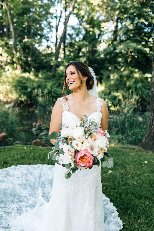 Summer wedding, natural, greenery, light, fresh, peonies, juliet roses, cream, pink, blush, bride, bridal bouquet.