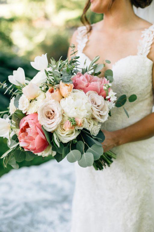 Summer wedding, natural, greenery, light, fresh, peonies, juliet roses, cream, pink, blush, reception, bride, bridal bouquet.