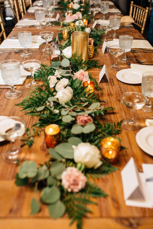 Summer wedding, natural, greenery, light, fresh, peonies, juliet roses, cream, pink, blush, reception, farm table, centerpiece, greenery runner.