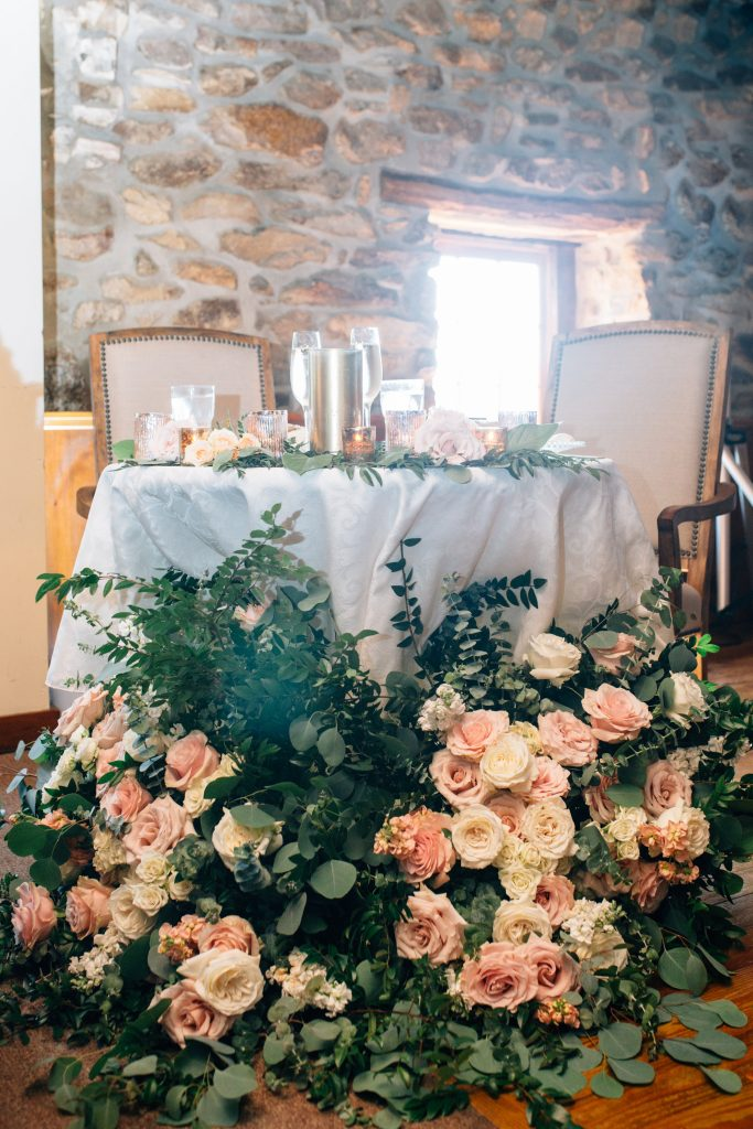 Summer wedding, natural, greenery, light, fresh, peonies, juliet roses, cream, pink, blush, reception, sweetheart table.