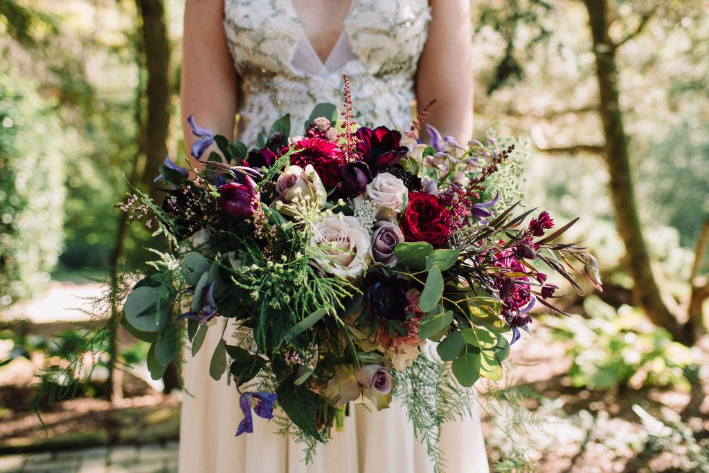Whimsical, fall, autumn, jewel tones, gardeny, greenery, purples, blues, organic, wedding, bridal bouquet.