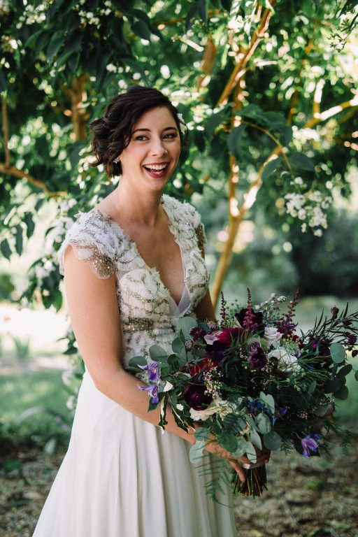 Whimsical, fall, autumn, jewel tones, gardeny, greenery, purples, blues, organic, wedding, bride and bridal bouquet.