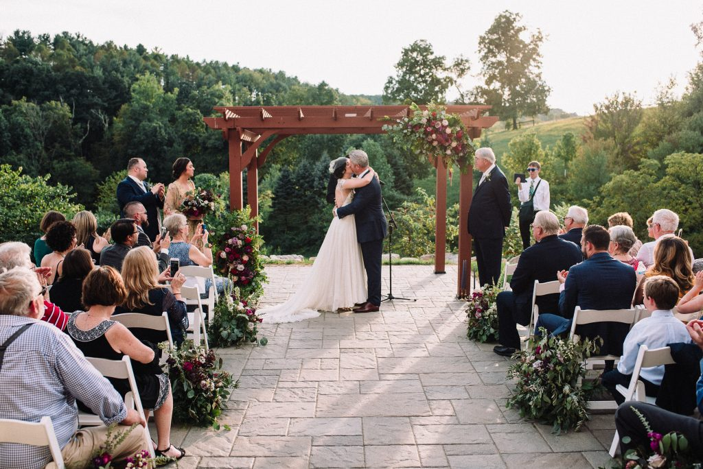 Whimsical, fall, autumn, jewel tones, gardeny, greenery, purples, blues, organic, wedding, bride and groom, ceremony.