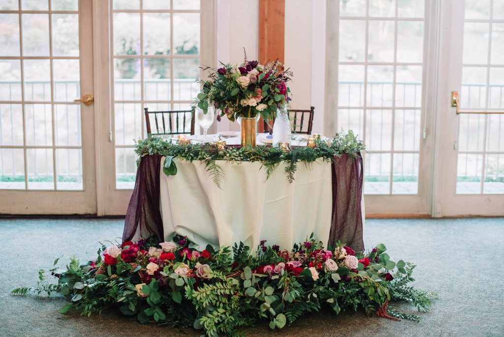 Whimsical, fall, autumn, jewel tones, gardeny, greenery, purples, blues, organic, wedding, bridal bouquet, sweetheart table.